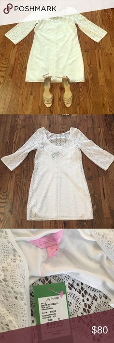 NWT Lilly Pulitzer White Dress Size XL Never worn Lilly Pulitzer, white, crochet dress, size XL. Can be dressed up or down with a denim jacket and sandals/boots. Lilly Pulitzer Dresses Long Sleeve