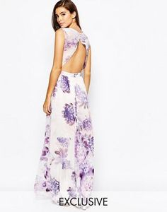 True Violet Floral Maxi Dress With Open Back