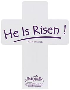 """The Easter Cross Witness was created to give disciples of Jesus Christ an opportunity during the Easter Season to witness to the Risen Christ. Place the cross in your yard blank side out. Then on Resurrection Sunday turn the cross around to declare, """"He is Risen…And It is Finished!"""""""