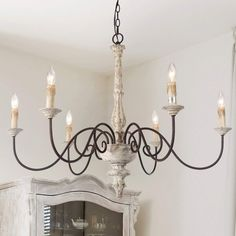 Shop for The Gray Barn Ingleside French Country Chandelier Distressed Hanging Light Fixture - country decorating living room country decorating farmhouse french country decorating french country decorating country decorating on a budget Country Lighting, Country Dining, Hanging Light Fixtures, Country Decor, White Chandelier, French Country Chandelier, Country Chandelier, Country House Decor, French Country Kitchens