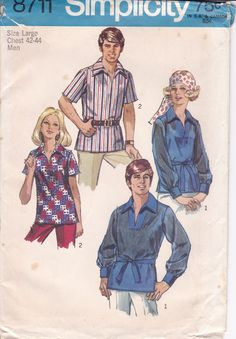 Vintage Uncut Sewing Pattern Simplicity 8711 Retro 1970's 70's  Bohemian Top Groovy Pullover top Men's Chest 42 44 Large Sleeve Variations by LanetzLiving on Etsy Mccalls Patterns, Simplicity Sewing Patterns, Vintage Sewing Patterns, Vintage Hippie, Vintage Men, Vintage Fashion, Barbie Sisters, Stitch Shirt, Unisex