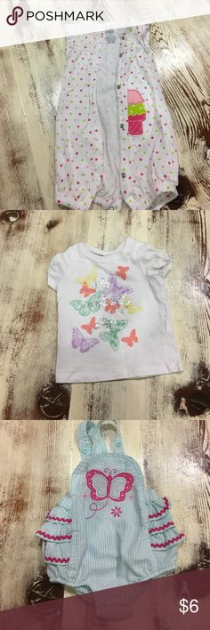 8 items! Gently used baby girl clothing size 3-6 m Great/ excellent condition! Baby girl size 3-6 month old clothing. Price includes all: Three shirts. One pair of pants with attached skirt. Two onsies. One over hall. One jump suit. Shirts & Tops