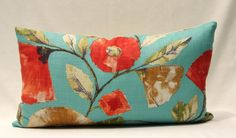 High End Designer Aqua Teal Blue Floral w Poppy Orange Red and Beige Flowers and Belgian Linen Back 14x24 Decorative Throw Toss Pillow Cover