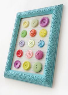 DIY button art using a dollar store frame: cheap way to bring in color