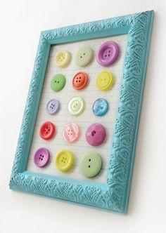 DIY button art using a dollar store frame