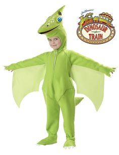 Kids Dinosaur Train Tiny Costume - This is a pterodactyl costume from Dinosaur Train. This character's name is Tiny. This is a three-piece costume with a jumpsuit, headpiece and shoe covers. The suit is made of soft fleece. It zips up in the front from the collar. The sleeves have attached claws. There is an opening for the hands to fit through. Also attached to the sleeves are Pterodactyl-like wings. #pterodactyl #dinosaur #dinosaurtrain #kids #children #costume #yyc #calgary #animal