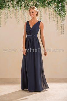 Jasmine Bridal Bridesmaid Dress B2 Style B183014 in Cayman Blue, Navy //