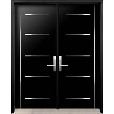 Modern Double Exterior Doors with Stainless Steel Stripes Wooden Main Door Design, Double Door Design, Front Door Design, Modern Entrance Door, Modern Front Door, Double Doors Exterior, Double Front Doors, Contemporary Front Doors, Door Ideas