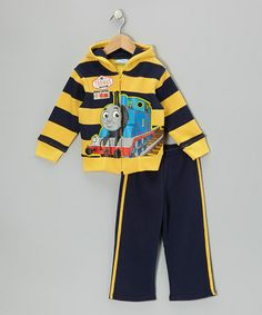 Take a look at this Yellow & Navy Stripe 'Thomas' Hoodie & Pants - Toddler by Thomas & Friends on #zulily today!