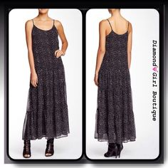 "Tiered maxi dress by Zoa This pretty maxi dress features an all over dotted print, spaghetti straps and lots of tiers, soft and flowy, fully lined...length:56"" Zoa Dresses Maxi"