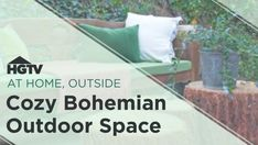On HGTV a big, empty outdoor space gets a makeover to become a cozy, bohemian outdoor living room. Outdoor Bedroom, Outdoor Living Rooms, Outdoor Spaces, Small Living Room Design, Living Room Designs, Victorian Gardens, Backyard Projects, Outdoor Entertaining, Garden Furniture