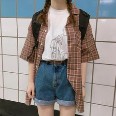 64 Popular Grunge Outfits Ideas For Women That You Need To See Source by clothes ideas Vintage Outfits, Retro Outfits, Casual Outfits, Hipster Outfits, Soft Grunge Outfits, Plaid Shirt Outfits, Black Outfits, Fall Outfits, 80s Fashion