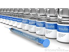 3d rendering of insulin vials and syringe isolated over white background