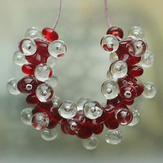 Red Molecules Handmade Lampwork Glass Beads SRA by Mandra on Etsy