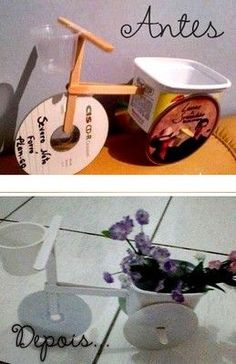 16 DIY CD Craft Ideas Using Recycled CDs That Are Scratched Build a tricycle flower pot using old CDs and Popsicle sticks Recycled Cds, Recycled Crafts, Diy And Crafts, Crafts For Kids, Old Cd Crafts, Crafts With Cds, Stick Crafts, Cd Diy, Craft Projects