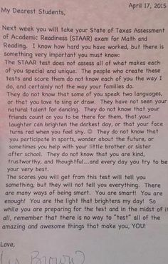 Near The End Of The Year, This Teacher Sent Every Student Home With A Note. What It Says Is Crucial http://www.wimp.com/teacher-note-testing-best-thing-read/