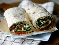 Hummus Lavash Wraps w/ roasted peppers, feta cheese, cucumber, mint, baby spinach, zatar