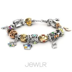 Personalize your own charm bracelet. Choose from a vast collection of charms, metals, stones and engraving #jewlr #charm #bracelet #personalize