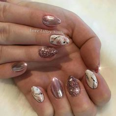 Rose Gold Chrome, Glitter and Marble Effect Nails. Using Gelish, The Nail Space and Lecenté Glitter. #rosegold #chrome #marblenails #rosegoldnails #lecente #chromenails #gelish #lecente #glitternails #nailart