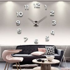 New Fashion Large Number Wall Clock Diy 3D Mirror Sticker Home Decor Art Modern