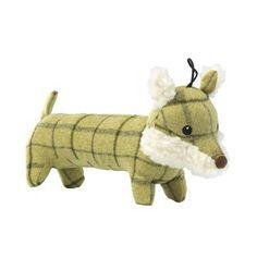 Tweed long body fox dog toy
