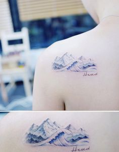 Mountains and a wave by Tattooist Banul