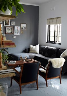 beautiful shade of gray on the walls - with black, cream and touch of green  Greg Cox for EST magazine