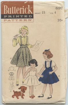 1950's Butterick 6964 Child's Girls Sundress Flare-skirted Jumper, Long or Short Sleeve Blouse Vintage Sewing Pattern Breast 23 UNCUT by GreyDogVintage on Etsy