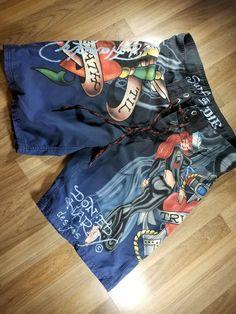 aa10130476 Ed Hardy Surf Or Die Board Shorts Skate Swim trunks SZ 34 True Til Death #