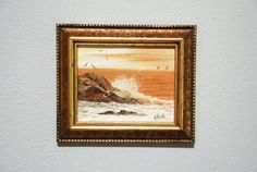 Pair of Petite Framed Crashing Wave Seascape at by WhiteFlyVintage