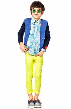 Paul Smith Junior Cardigan V-neck knit navy blue and medium blue - 30657 | Melijoe.com