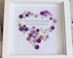 Every Love Story is beautiful - Button Heart Print Valentines Wedding Anniversary Engagement Gift Button Art, Button Crafts, Mothers Day Crafts, Crafts For Kids, Homemade Gifts, Diy Gifts, Valentine Crafts, Valentines, Button Picture