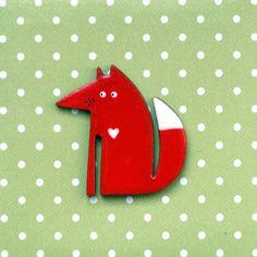 Broschen - verliebter Fuchs ♥ Brosche - ein Designerstück von kiezmietz bei DaWanda