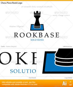 Chess Piece Rook Logo  #GraphicRiver         a simple but elegant logo using a rook chess piece on a single square  	 Files included are fully resizable and editable .ai and .eps formats designed in Adobe Illustrator CS 4 for Mac.  	 Font used is Palatino (Regular) for both main and sub headings. All text is fully editable or can be replaced by the font of your choice. Font is not included but is available for download from  .fonts /.  	 If you have any questions or concerns, please post…