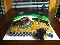 monster jam inspired birthday cake, I even made it light up Monster Jam Cake, Birthday Cake, Cakes, Inspired, Desserts, Food, Tailgate Desserts, Deserts, Cake Makers