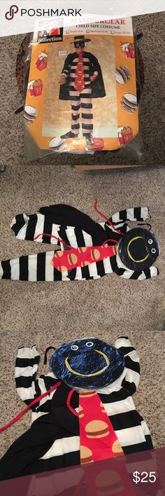 Vintage NWT Kids McDonalds Hamburglar Costume Size Medium (8-10) Child's Costume. Original packaging. Never worn, mat and mask are still sealed. Costumes
