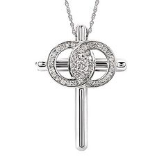 Christian Marriage Symbol® Cross Pendant In 14K Gold With Solid Cross, Channel Set Rings, And Diamonds Equaling 1/2 Ctw. by Ostbye. CMS2/PCHV50