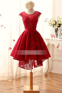 Red round neck lace short prom dress, lace bridesmaid dress
