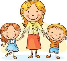 Buy Mother With Two Children by katya_dav on GraphicRiver. Happy cartoon mother with two children, a boy and a girl, no gradients