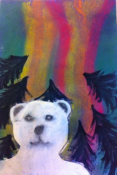 "Art: Expression of Imagination: ""Polar Bears Under the Northern Lights"" by Grade 5"