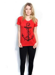 Anchor shirt short sleeve top Small Medium Large,  Tee, anchor tshirt red shirt nautical, Casual