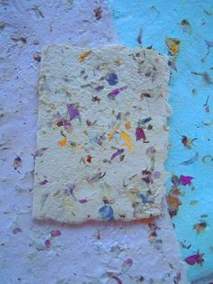 various materials including recycled paper, dried plant materials, flower petals, and scraps of this and that