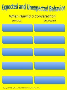 """Sample Page From: KID CODES: Expected vs. Unexpected During a Conversation Activity This is a great activity to improve children's understanding of """"expected and unexpected"""" behaviors during a conversation. The concept is adapted from the work of Michelle Garcia-Winner SLP, """"Think Social."""" It's a lot of fun and the kids love it every time. Hang these charts on the wall for easy access to refer to even when you are not doing this activity."""