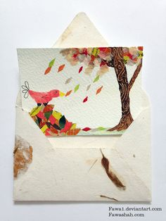 Autumn Leaves Original ACEO OOAK Watercolor Cute Red Bird by Fawa1, $9.00