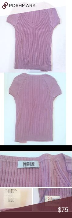 Moschino lavender pink wool/rayon/cashmere sweater Moschino cheap and chic lavender pink wool/rayon/cashmere blend cap sleeve sweater. Size 12. Body fitting style. Worn once and stored in a box with The Laundress cedar cashmere spray. Moschino Sweaters V-Necks