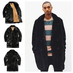 SUPREME Faux Fur Double-Breasted Coat