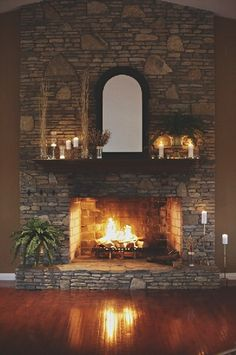 reception fireplce decor