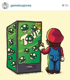 Mario buying 7-up!