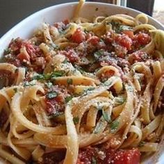 For a quick and flavorful classic, saute bacon or pancetta and add onions, garlic and red pepper flakes. Cook with canned plum tomatoes for a mere 10 minutes, stir in fresh parsley or basil and toss with cooked spaghetti or linguine. Pass the Parmesan and enjoy!