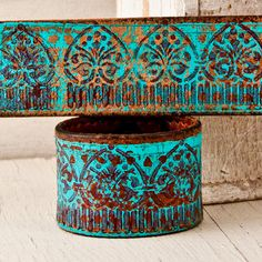 Turquoise Bracelets / Leather Jewelry Cuffs by rainwheel on Etsy